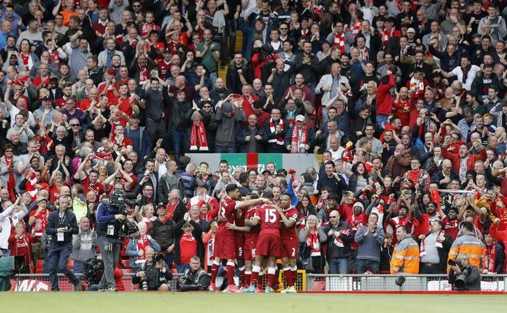 Britain Football Soccer - Liverpool v Middlesbrough - Premier League - Anfield - 21/5/17 Liverpool's Georginio Wijnaldum celebrates scoring their first goal with team mates Action Images via Reuters / Carl Recine Livepic