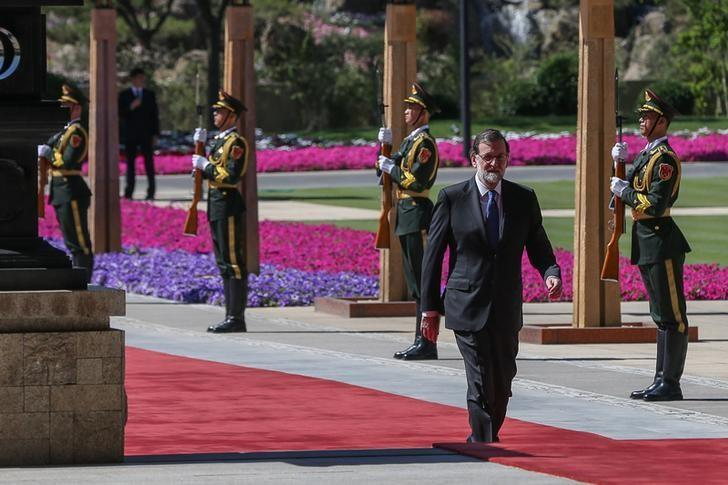 Spanish Prime Minister Mariano Rajoy arrives for the welcome ceremony for the Belt and Road Forum, at the International Conference Center in Yanqi Lake, north of Beijing, China, May 15 2017. REUTERS/Roman Pilipey/Pool