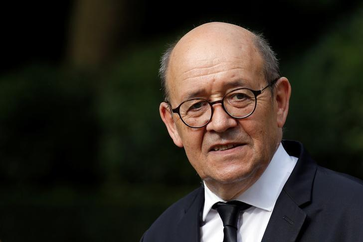 Jean-Yves Le Drian, outgoing French defence minister, and newly-appointed Foreign Minister and Minister for Europe, is seen at a handover ceremony at the Defence Ministry in Paris, France, May 17, 2017.  REUTERS/Gonzalo Fuentes