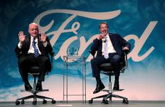 Ford Motor Executive Chairman Bill Ford (R) and James Hackett answer questions from the media after announcing Hackett was named Ford Motor Company president and CEO, succeeding Mark Fields, in Dearborn, Michigan, U.S., May 22, 2017.   REUTERS/Rebecca Cook