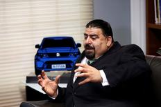 Eduardo Solis, President of the Mexican Automotive Industry Association (AMIA), gestures during an interview with Reuters in Mexico City, Mexico May 22, 2017.  REUTERS/Carlos Jasso