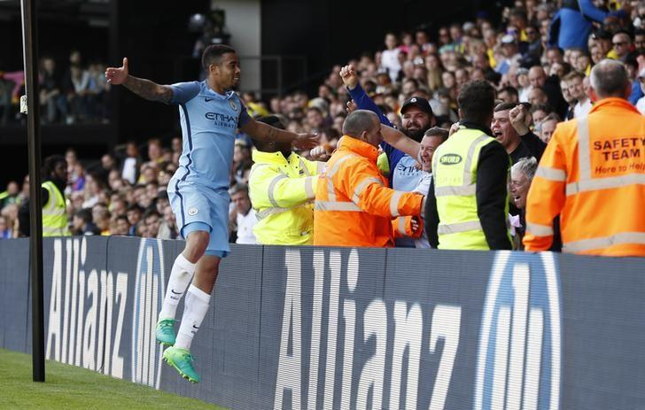 Britain Football Soccer - Watford v Manchester City - Premier League - Vicarage Road - 21/5/17 Manchester City's Gabriel Jesus celebrates scoring their fifth goal Reuters / Stefan Wermuth/ Livepic/ Files