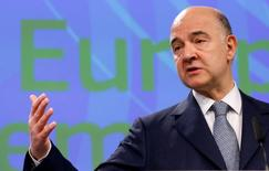 European Economic and Financial Affairs Commissioner Pierre Moscovici addresses a news conference at the EU Commission headquarters in Brussels, Belgium May 22, 2017. REUTERS/Francois Lenoir