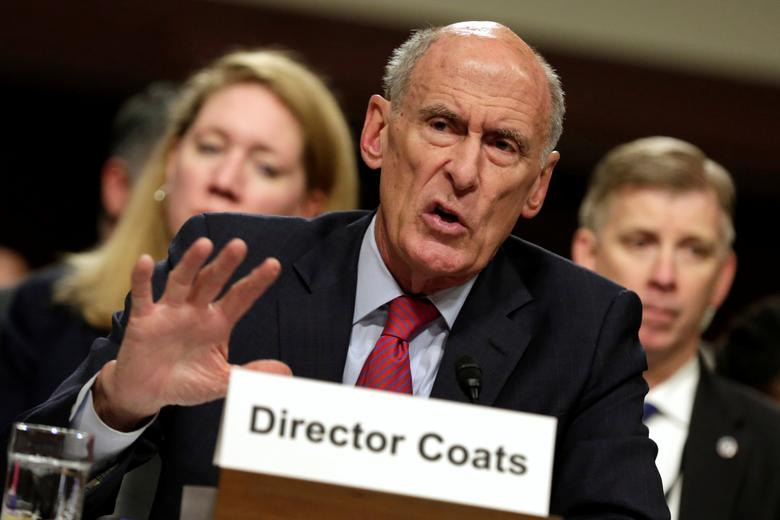 U.S. Director of National Intelligence Dan Coats testifies before the Senate Armed Services Committee on worldwide threats on Capitol Hill in Washington, U.S., May 23, 2017. REUTERS/Yuri Gripas