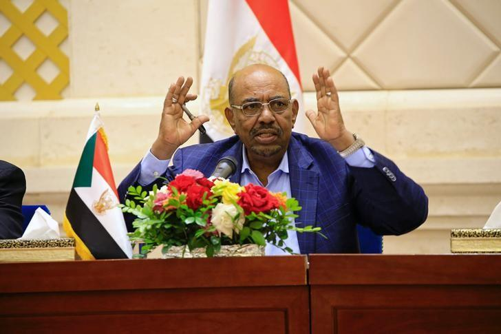 Sudan's President Omar Hassan al-Bashir speaks during a press conference after the oath of the prime minister and first vice president Bakri Hassan Saleh at the palace in Khartoum, Sudan March 2, 2017. REUTERS/Mohamed Nureldin Abdallah/Files