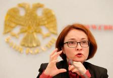 Russian Central Bank Governor Elvira Nabiullina speaks during a news conference in Moscow, Russia September 16, 2016.  REUTERS/Maxim Zmeyev