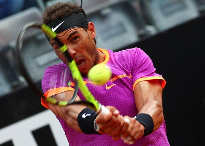 Tennis - ATP - Rome Open - Dominic Thiem of Austria v Rafael Nadal of Spain - Rome, Italy - 19/5/17 - Nadal returns the ball. REUTERS/Alessandro Bianchi