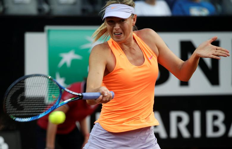 Tennis - WTA - Rome Open - Maria Sharapova of Russia v Mirjana Lucic-Baroni of Croatia - Rome, Italy- 16/5/17- Sharapova returns the ball. REUTERS/Max Rossi