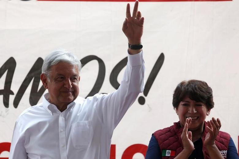 Andres Manuel Lopez Obrador, leader of the National Regeneration Movement (MORENA) gestures during electoral campaign of Delfina Gomez of (MORENA), candidate for governor of the State of Mexico, in Metepec, State of Mexico, Mexico May 16, 2017. REUTERS/Carlos Jasso