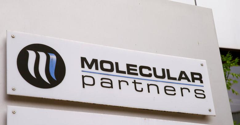 The logo of Swiss biotechnology company Molecular Partners is seen in Schlieren, Switzerland May 23, 2017. Picture taken May 23, 2017. REUTERS/Arnd Wiegmann