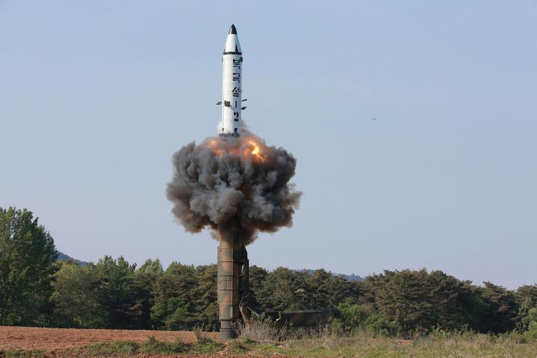 The scene of the intermediate-range ballistic missile Pukguksong-2's launch test in this undated photo released by North Korea's Korean Central News Agency (KCNA) May 22, 2017. KCNA/via REUTERS