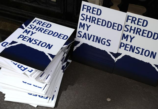 Placards stacked outside of the Royal Courts as RBS pursues last-minute settlement talks with a group of investors to avoid a trial over allegations the lender misled them about a 2008 capital increase, in London. REUTERS/Neil Hall