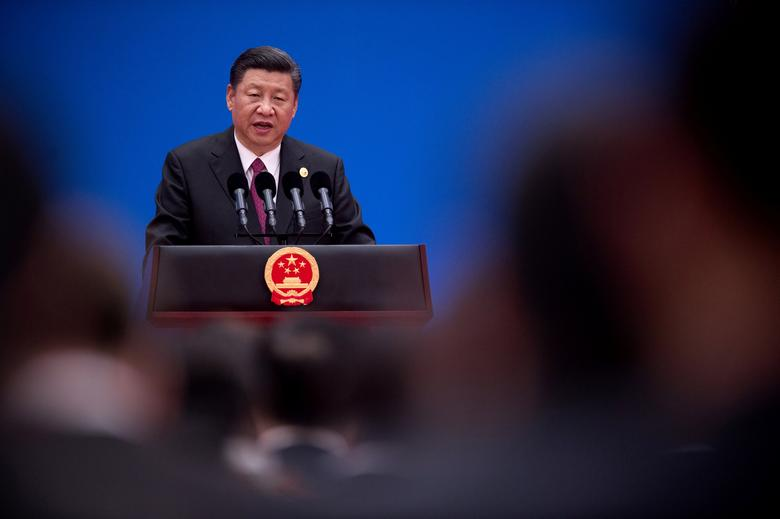 Chinese President Xi Jinping speaks during a briefing on the final day of the Belt and Road Forum, at the Yanqi Lake International Conference Centre north of Beijing, China May 15, 2017.  REUTERS/Nicolas Asfouri/Pool