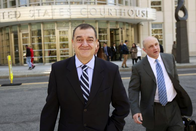FILE PHOTO --  Costas Takkas, former secretary-general of the Cayman Islands Football Association, departs the Brooklyn Federal Courthouse in the Brooklyn borough of New York April 13, 2016. REUTERS/Lucas Jackson/File Photo