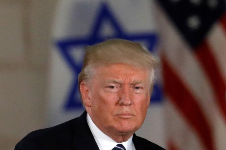 U.S. President Donald Trump, near an Israeli flag at the Israel Museum in Jerusalem May 23, 2017. REUTERS/Ronen Zvulun