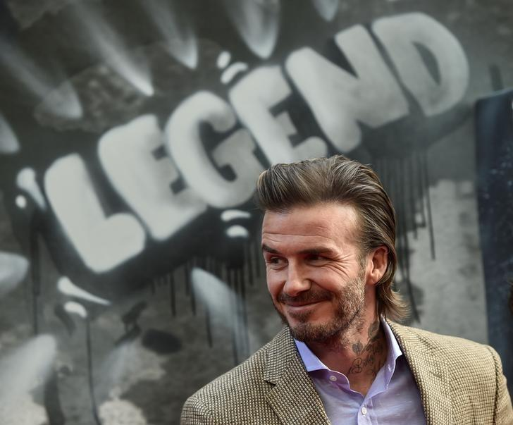 David Beckham poses at the European premiere of ''King Arthur: Legend of the Sword'' in London, Britain May 10, 2017.  REUTERS/Hannah McKay/Files