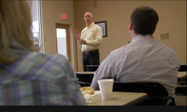 A still image taken from video shows Montana Republican congressional candidate Greg Gianforte speaking to voters while campaigning for a special election in Missoula, Montana, U.S. May 24, 2017. REUTERS/Justin Mitchell