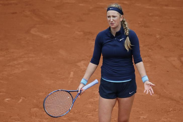 Tennis - French Open - Roland Garros - Karin Knapp of Italy vs Victoria Azarenka of Belarus - Paris, France - 24/05/16. Victoria Azarenka reacts. REUTERS/Pascal Rossignol/ Files