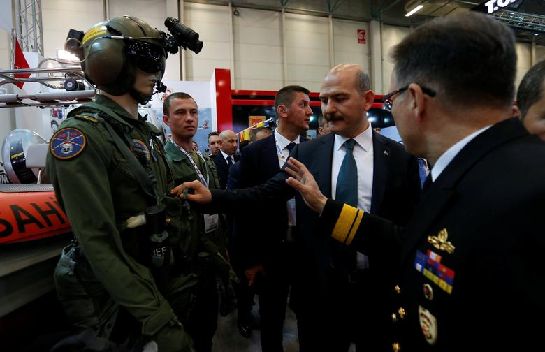 Turkish Interior Minister Suleyman Soylu visits IDEF'17, the 13th International Defence Industry Fair, in Istanbul, Turkey, May 9, 2017. REUTERS/Murad Sezer