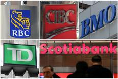 A combination photo shows Canadian investment banks RBC, CIBC, BMO, TD and Scotiabank in Toronto, Ontario, Canada on March 16, 2017. REUTERS/Chris Helgren/File Photos