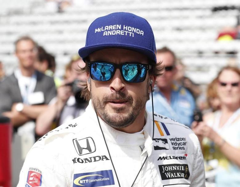 May 19, 2017; Indianapolis, IN, USA; Verizon IndyCar Series driver Fernando Alonso watches from the pits during practice for the 101st Running of the Indianapolis 500 at Indianapolis Motor Speedway. Mandatory Credit: Brian Spurlock-USA TODAY Sports