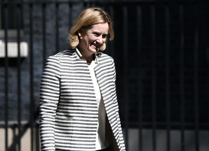 Britain's Home Secretary Amber Rudd leaves after a COBRA meeting in Downing Street in London, Britain, May 25, 2017. REUTERS/Neil Hall
