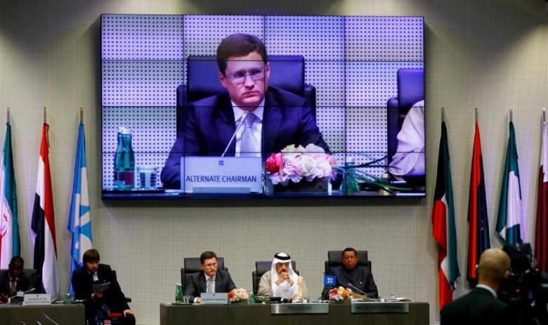 Russia's Energy Minister Alexander Novak, Saudi Arabia's Energy Minister and OPEC conference president Khalid al-Falih, and OPEC Secretary General Mohammad Barkindo attend a meeting of the Organization of the Petroleum Exporting Countries (OPEC) and non-OPEC producing countries in Vienna, Austria, May 25, 2017.  REUTERS/Leonhard Foeger