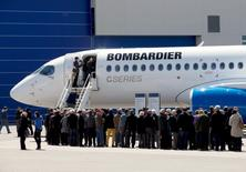 FILE PHOTO --  Shareholders line up to view Bombardier's CS300 aircraft following their annual general meeting in Mirabel, Quebec, Canada April 29, 2016.  REUTERS/Christinne Muschi/File Photo