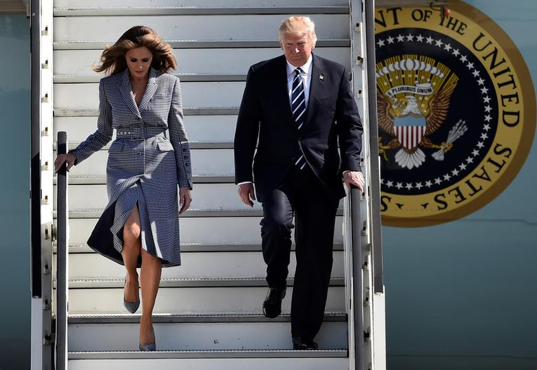 President Trump and first lady Melania Trump arrive at the Brussels Airport. REUTERS/Hannah McKay