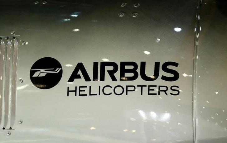 A logo of Airbus helicopters is pictured on their booth during the European Business Aviation Convention & Exhibition (EBACE) in Geneva, Switzerland, May 22, 2017.  REUTERS/Denis Balibouse