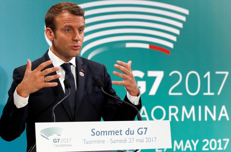 French President Emmanuel Macron speaks at a press conference at the end of the G7 Summit in Taormina, Sicily, Italy, May 27, 2017.       REUTERS/Philippe Wojazer