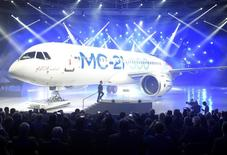 Russian Prime Minister Dmitry Medvedev attends a ceremony to present the Irkut MC-21 mid-range jet airliner at the Irkutsk Aviation Plant (Irkut Corporation) in Irkutsk, June 8, 2016. Sputnik/Alexander Astafyev/Pool/via REUTERS ATTENTION EDITORS - THIS IMAGE WAS PROVIDED BY A THIRD PARTY. EDITORIAL USE ONLY.