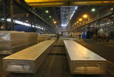 Giant 9-ton aluminium ingots are seen at the Rusal Sayanogorsk aluminium smelter outside the Siberian town of Sayanogorsk, Russia, March 15, 2017. Picture taken March 15, 2017. REUTERS/Ilya Naymushin