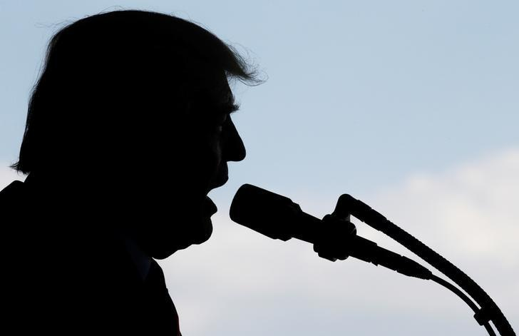 U.S. President Donald Trump delivers remarks to U.S. troops at the Naval Air Station Sigonella before returning to Washington D.C. at Sigonella Air Force Base in Sigonella, Sicily, Italy, May 27, 2017. REUTERS/Jonathan Ernst/Files