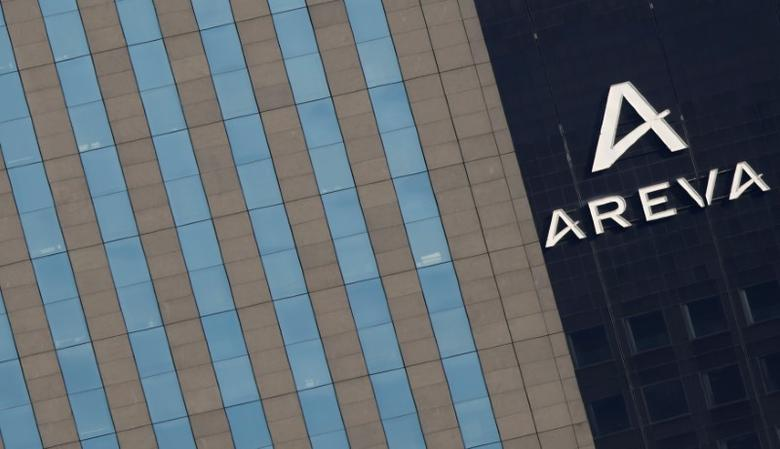 FILE PHOTO: A logo is seen on the Areva Tower (R), the headquarters of the French nuclear reactor maker Areva in Courbevoie, France, March 8, 2016.    REUTERS/Christian Hartmann/File Photo