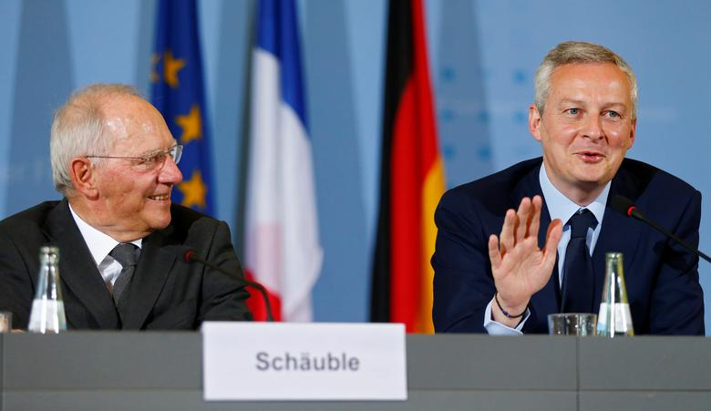 German Finance Minister Wolfgang Schaeuble and French Economy Minister Bruno Le Maire attend a news conference in Berlin, Germany, May 22, 2017. REUTERS/Hannibal Hanschke