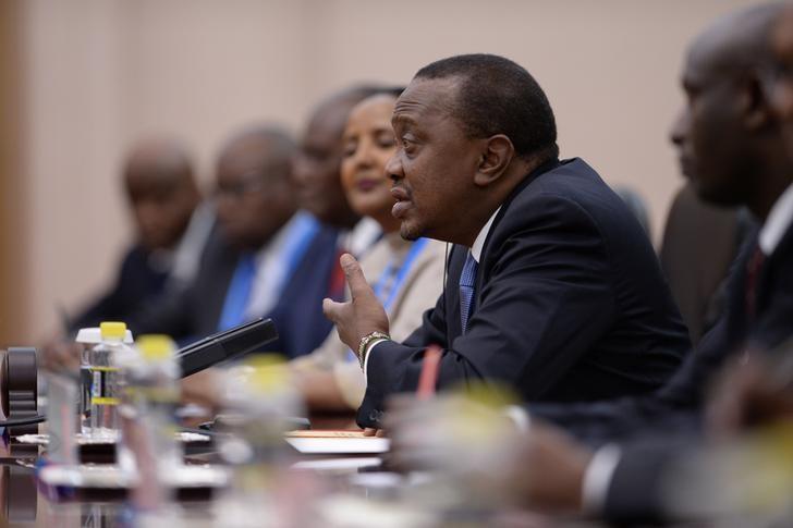 President of Kenya Uhuru Kenyatta speaks at a meeting with Chinese Premier Li Keqiang at the Great Hall of the People in Beijing, China May 15, 2017. REUTERS/Parker Song/Pool/Files