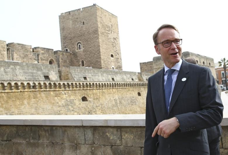 FILE PHOTO: German Bundesbank President Jens Weidmann arrives for the G7 Financial ministers meeting in the southern Italian city of Bari, Italy, May 12, 2017. REUTERS/Alessandro Bianchi