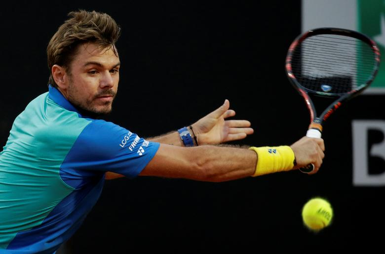 FILE PHOTO: Tennis - ATP - Rome Open - Stan Wawrinka of Switzerland v Benoit Paire of France - Rome, Italy- 17/5/17- Wawrinka returns the ball. REUTERS/Max Rossi