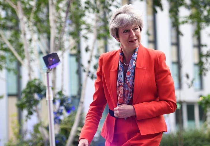 Prime Minister Theresa May arrives at Sky studios in Osterley, west London to take part in a joint Channel 4 and Sky News general election programme, May 29, 2017. REUTERS/Stefan Rousseau/Pool