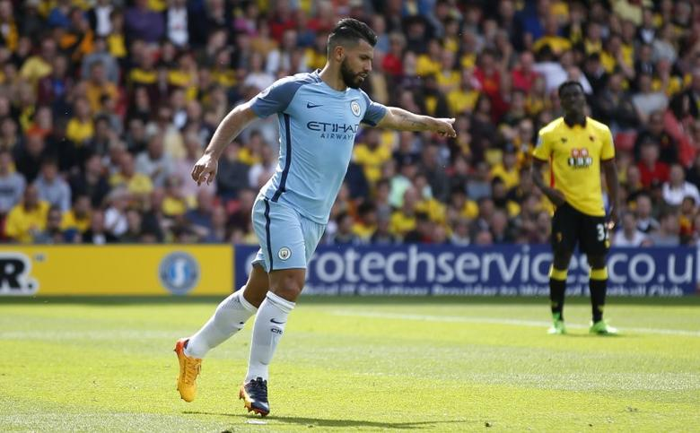 Britain Football Soccer - Watford v Manchester City - Premier League - Vicarage Road - 21/5/17 Manchester City's Sergio Aguero celebrates scoring their second goal Reuters / Stefan Wermuth/ Livepic/ Files