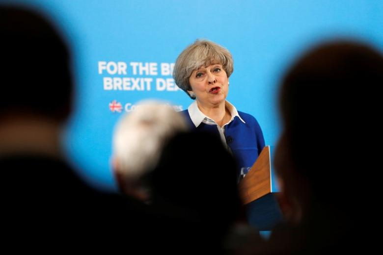 Britain's Prime Minister Theresa May attends an election campaign event in Wolverhampton, May 30, 2017. REUTERS/Darren Staples