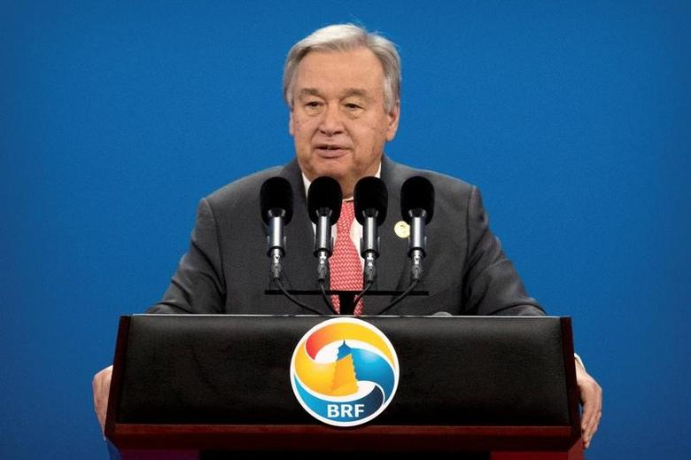 UN Secretary General Antonio Guterres  in Beijing, May 14, 2017. REUTERS/Mark Schiefelbein/Pool