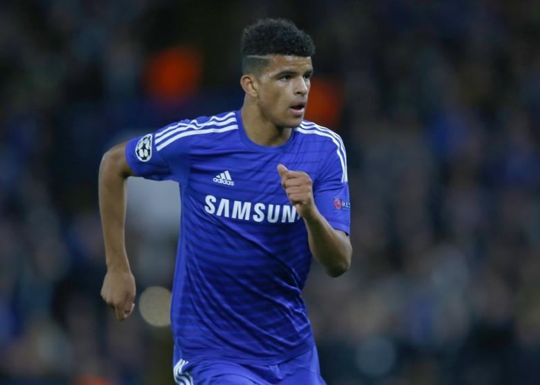 Dominic Solanke makes his debut for Chelsea during their Champions League Group G soccer match against Maribor at Stamford Bridge in London October 21, 2014.    REUTERS/Eddie Keogh