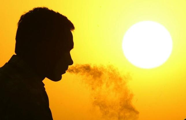 5月30日、世界保健機関(WHO)は、たばこが環境に及ぼす影響について初の報告書を発表した。写真はたばこを吸う男性。印ニューデリーで2005年10月撮影(2017年 ロイター/Kamal Kishore)