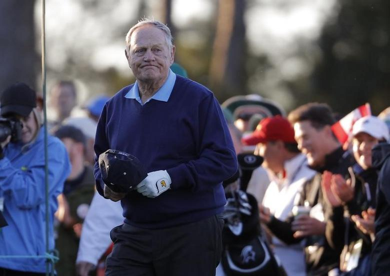 Golfing great Jack Nicklaus arrives for the ceremonial tee off to start the 2017 Masters at Augusta National Golf Club in Augusta, Georgia, U.S., April 6, 2017. REUTERS/Lucy Nicholson/Files
