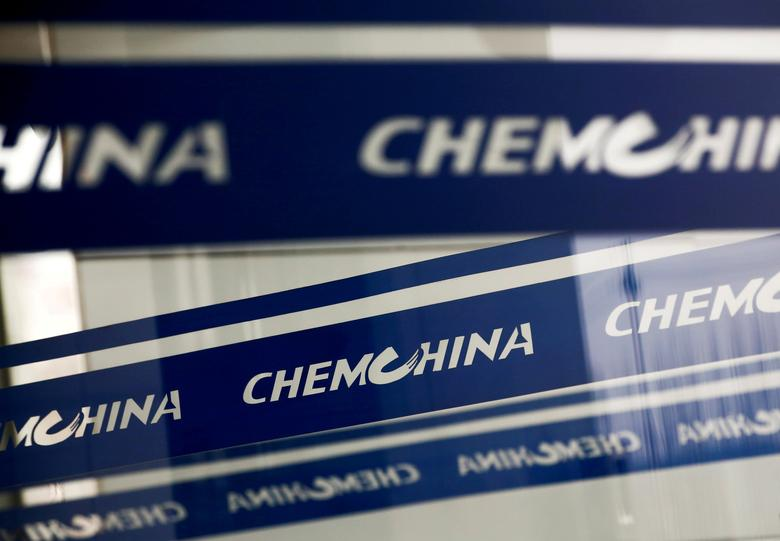 FILE PHOTO: The company logo of China National Chemical Corp, or ChemChina, is seen at its headquarters in Beijing, China February 3, 2017.  REUTERS/Thomas Peter/File Photo