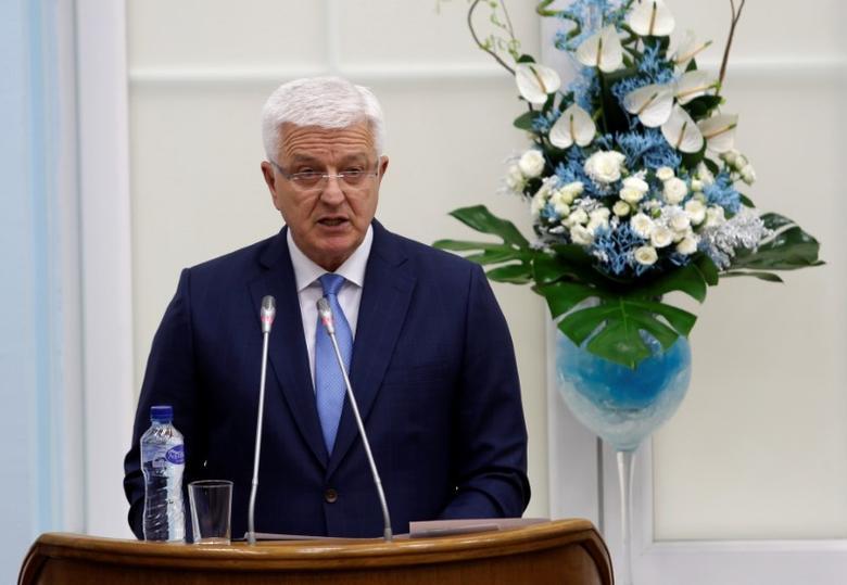 File Photo - Montenegro's Prime Minister Dusko Markovic addresses the parliament during a discussion on NATO membership agreement in Cetinje, Montenegro, April 28, 2017 REUTERS/Stevo Vasiljevic