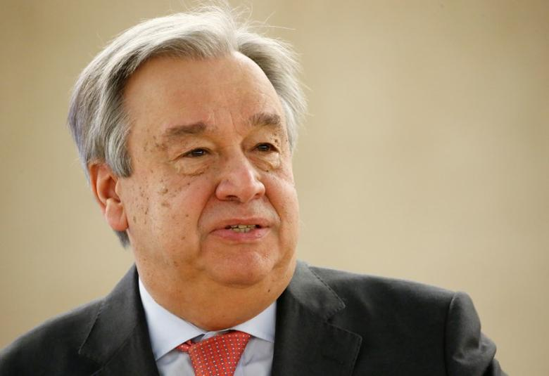 FILE PHOTO: U.N. Secretary general Antonio Guterres attends the 34th session of the Human Rights Council at the European headquarters of the United Nations in Geneva, Switzerland, February 27, 2017. REUTERS/Denis Balibouse