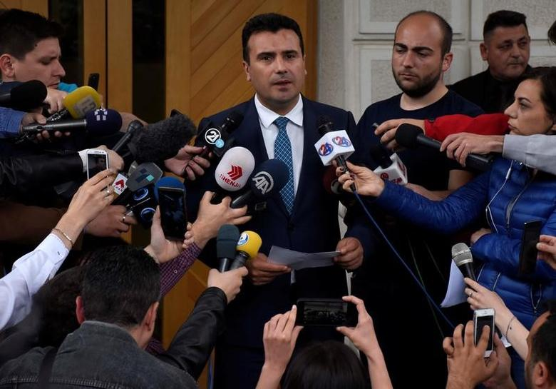 Social Democrat leader Zoran Zaev addresses the media after receiving mandate to form a coalition government, in Skopje, Macedonia May 17 2017.REUTERS/Ognen Teofilovski